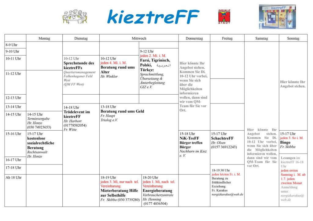KieztreFF Stundenplan - Stand Juni 2017