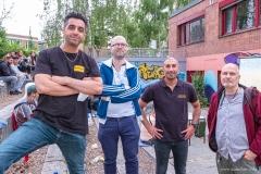Fußball-EM 2021 im Atrium der Paul-Gerhardt-Gemeinde mit Muharrem Yildirim, Maxim Peltason, Deniz Astan, Ralf Salecker(Foto: Ralf Salecker)