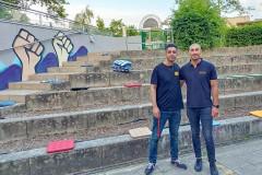 Fußball-EM 2021 im Atrium der Paul-Gerhardt-Gemeinde mit Muharrem Yildirim und Deniz Astan (Foto: Maxim Peltason)