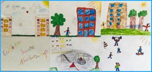 """(""""schöne, bunte Nachbarschaft"""", gezeichnet von Kindern im Projekt """"Familien stärken"""")"""