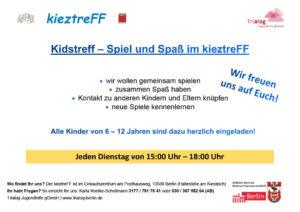 Neues Angebot für Kinder im kieztreFF im Einkaufszentrum am Posthausweg. Im Kidstreff wollen wir gemeinsam spielen.