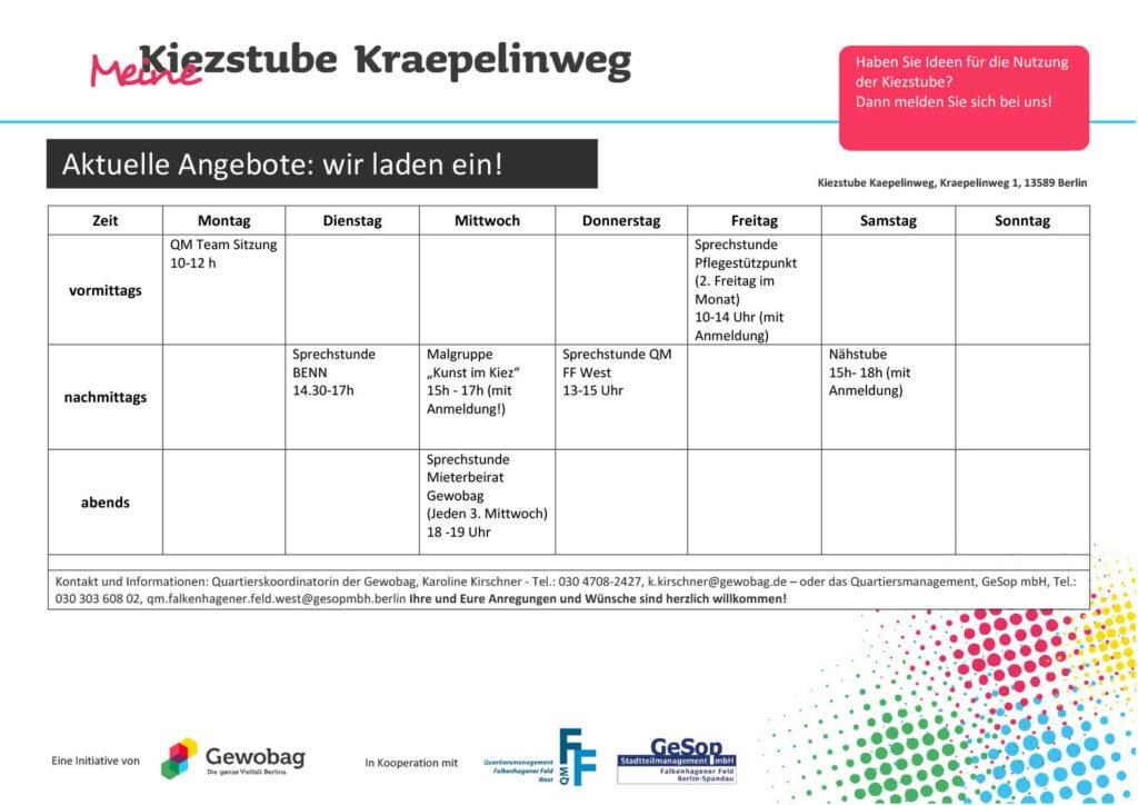 Wochenplan für die Kiezstube - Stand Oktober 2021